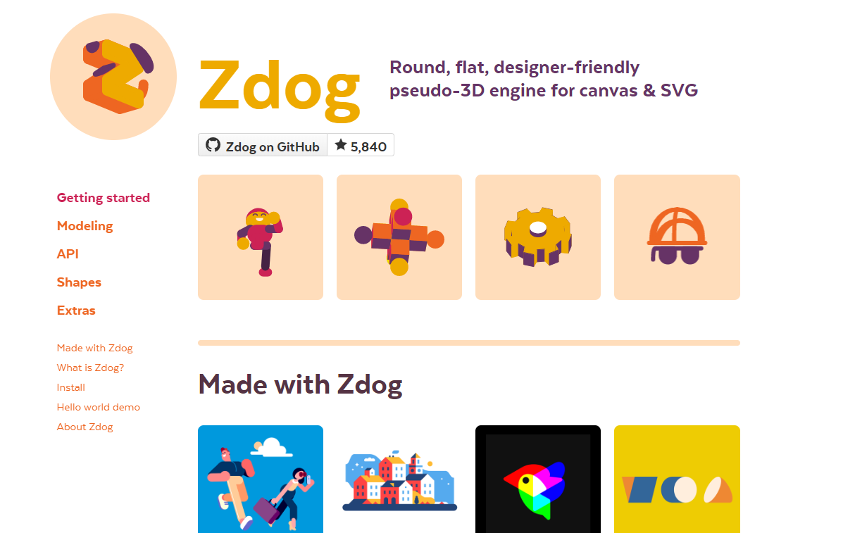 Zdog – Round, Flat, Designer-Friendly Pseudo-3D Engine